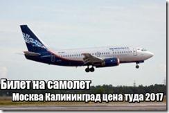 Билет на самолет Москва Калининград цена туда 2017